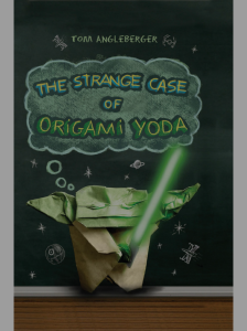 "The cover art for the first book in the series, ""The Strange Case of Origami Yoda."""