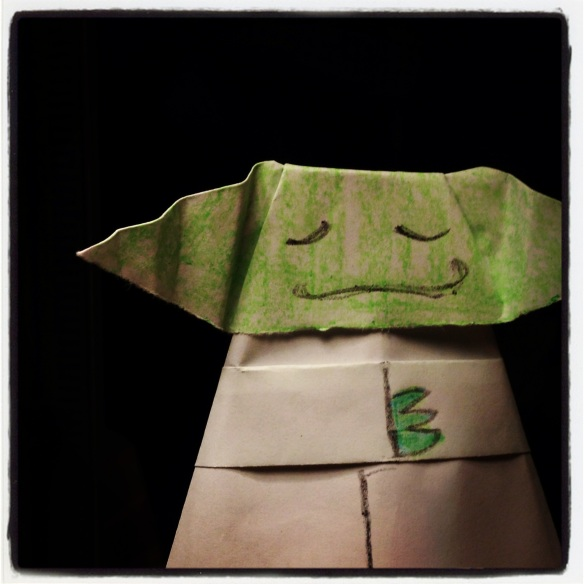 My Origami Yoda! Isn't he cute?