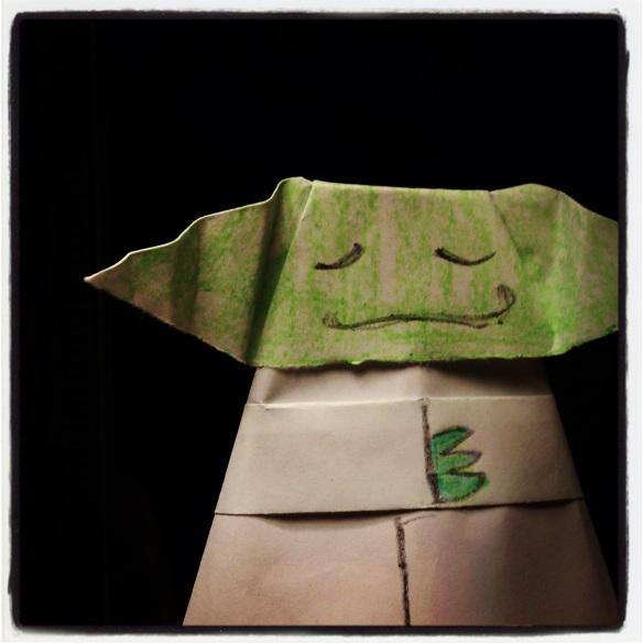 My Origami Yoda! Isn't he cute?
